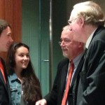 Jake and Nora Gosselin stand and chat with their father, Peter Gosselin, and Sen. Jay Rockefeller, D-West Va.