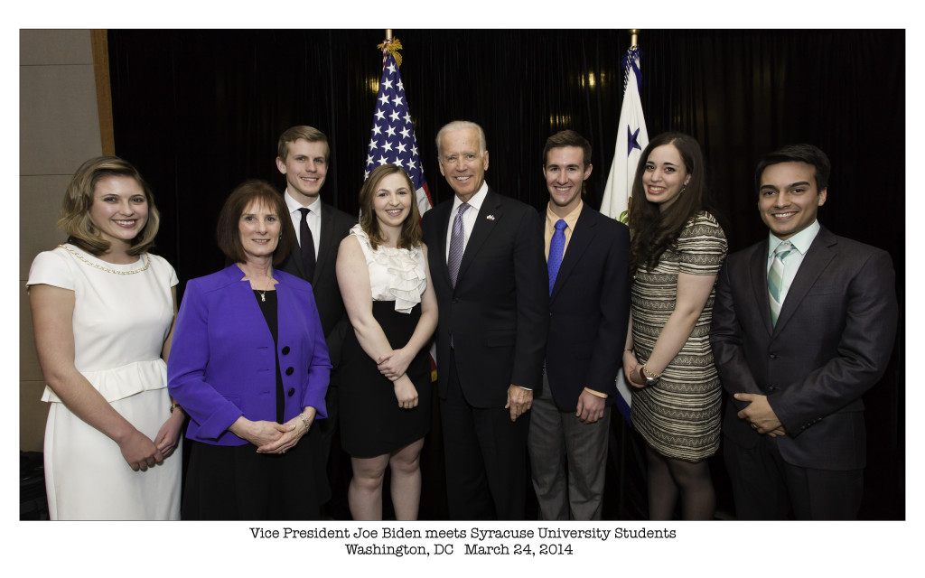 Vice President Joe Biden poses with students at the annual ceremony to award the Toner Prize  for Excellence in Political Reporting. Biden, a 1968 graduate of SU's law school, gave the keynote speech in Washington, D.C.